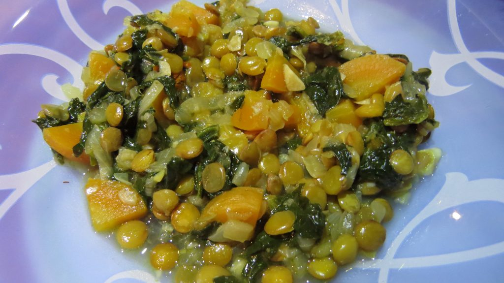 Spinach, Carrot Lentil Stew