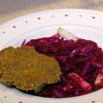 Falafel_beet, red cabbage and apple salad