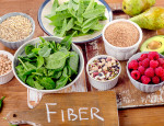 Fiber rich foods on a wooden board. Healthy eating. Top view